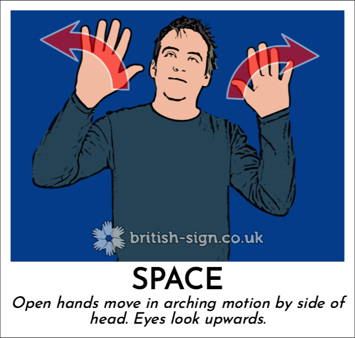 Space: Open hands move in arching motion by side of head.  Eyes look upwards.