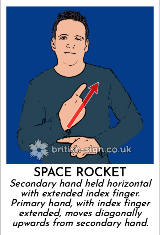 Space Rocket: Secondary hand held horizontal with extended index finger. Primary hand, with index finger extended, moves diagonally upwards from secondary hand.