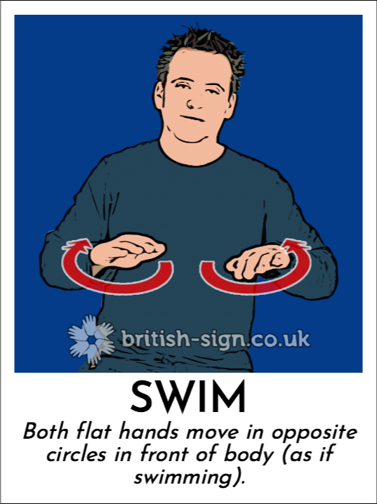 Swim: Both flat hands move in opposite circles in front of body (as if swimming).