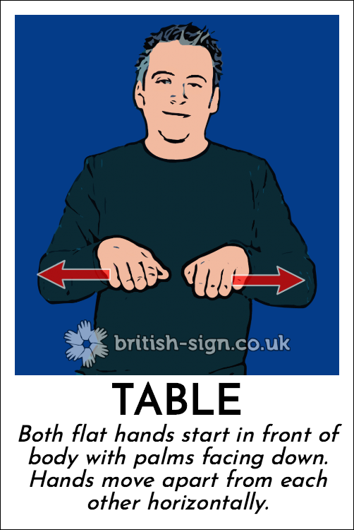 Table: Both flat hands start in front of body with palms facing down.  Hands move apart from each other horizontally.