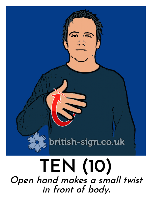 Ten (10): Open hand makes a small twist in front of body.