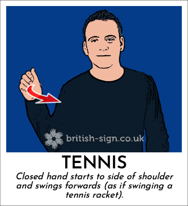 Tennis: Closed hand starts to side of shoulder and swings forwards (as if swinging a tennis racket).