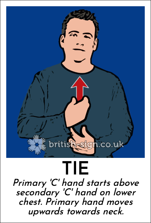 Tie: Primary 'C' hand starts above secondary 'C' hand on lower chest. Primary hand moves upwards towards neck.