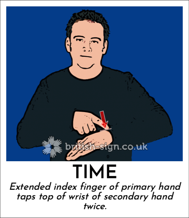 Time: Extended index finger of primary hand taps top of wrist of secondary hand twice.