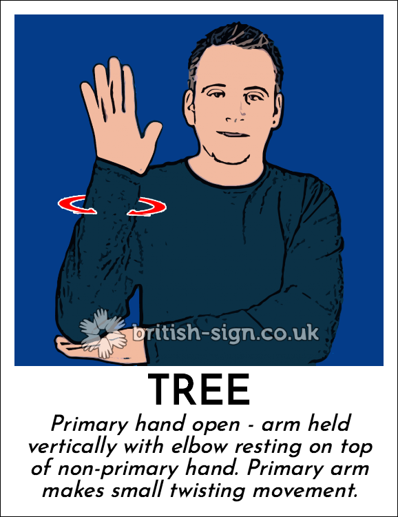 Tree: Primary hand open - arm held vertically with elbow resting on top of non-primary hand.  Primary arm makes small twisting movement.