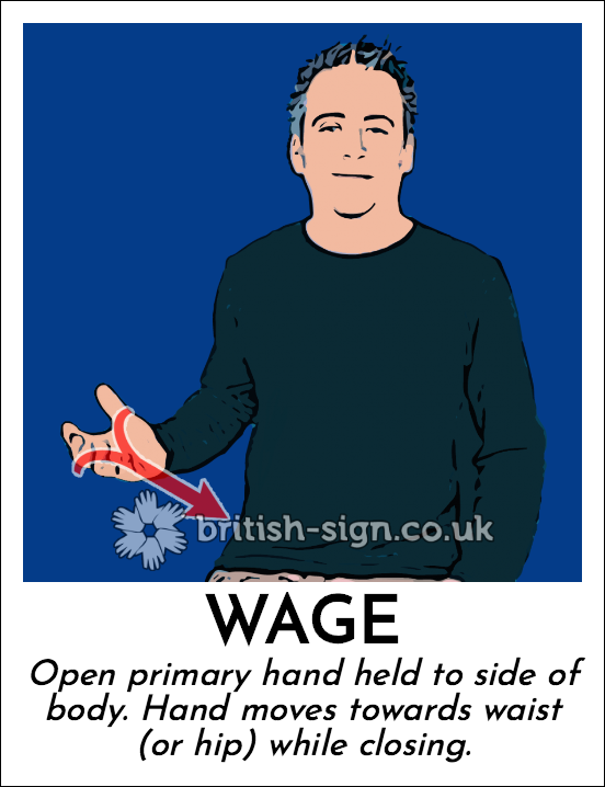 Wage: Open primary hand held to side of body.  Hand moves towards waist (or hip) while closing.