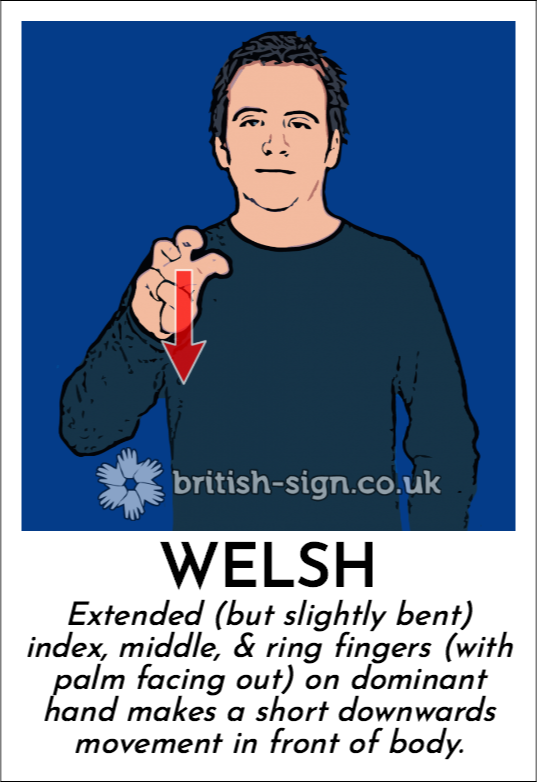 Welsh: Extended (but slightly bent) index, middle, & ring fingers (with palm facing out) on dominant hand makes a short downwards movement in front of body.
