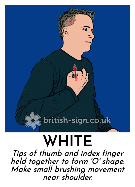 White: Tips of thumb and index finger held together to form 'O' shape. Make small brushing movement near shoulder.