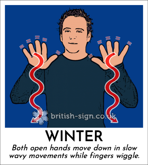 Winter: Both open hands move down in slow wavy movements while fingers wiggle.