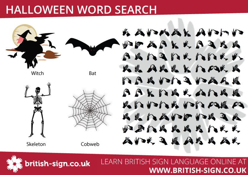 Halloween Fingerspelling Word Search